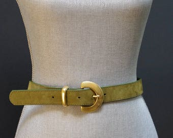 Vintage Suede Belt, Green Waist Belt, Olive Green Suede Belt, Olive Green Leather Belt, D Buckle Belt, Matte Gold, Size Small