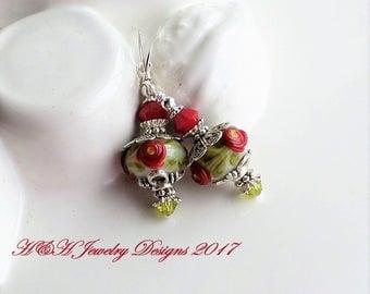 Lampwork Earrings, Glass Bead Earrings, Red Glass Earrings, Green Red Lampwork Earrings, Glass Rose Earrings, Floral Lampwork Bead Earrings