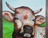 Impressive Bull/Cow Torn Paper Painting OOAK
