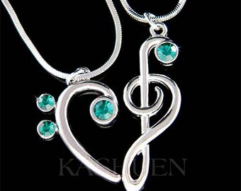 Emerald Green Swarovski Crystal TREBLE G Bass CLEF Love Music Lover Musical Note Heart 2 Charm Necklace Jewelry Best Friends Christmas Gift