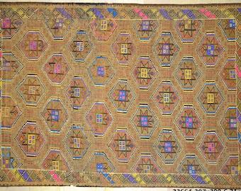 Kilim Rug 6.5' x 10' Gold Tan Bright Multicolor Geometric Tribal Wool Vintage Cicim