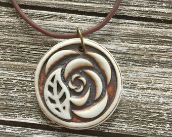 Rustic Rose and Leaf Porcelain Pendant