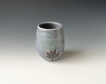 Ceramic Lotus Wine Tumbler - purple porcelain clay cocktail cup with flower, seedpod, and wifi decal - wheel thrown handmade pottery