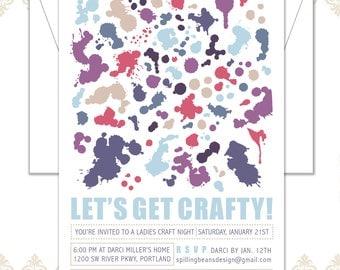 Craft Party Birthday Invitation & envelope, Painting Party Invite, Art Party, Adult Craft Party Invite, Crafty Party Invite, paint splashes