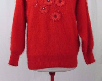 Vintage Bright Red Fuzzy Angora Floral Applique Pullover Sweater Medium