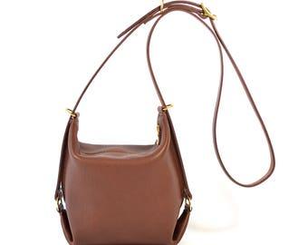 Connie - Chestnut Brown Leather Shoulder Bag Handmade SS18