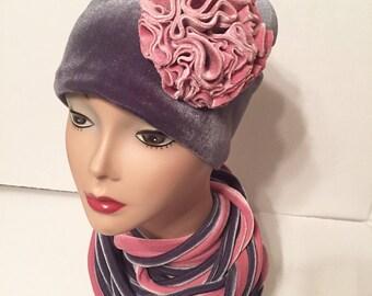 Velvet Hat-Women's Gift-Dressy Hat-Satin Lined-Customer Favorite-Blush Pink Gray