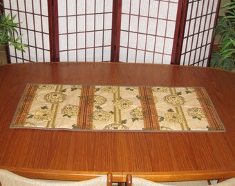Stylized Chrysanthemums Design Japanese Quilted Fabric Table Runner Golden Tones