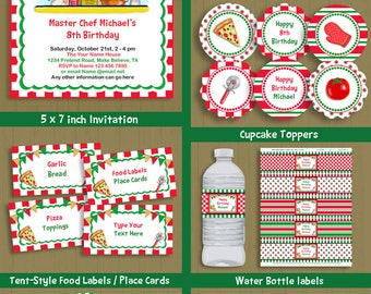 Pizza Party invite & decorations kit - pizza cooking theme - African American boy birthday - INSTANT DOWNLOAD P-72 set-1  with editable text