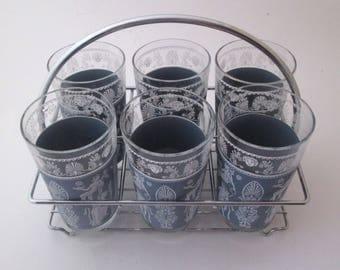 Jeannette Hellenic Vintage Highball Glass Set Glasses in Caddy Jeanette Blue Glass Water Tumbler wedgwood blue grecian Greek Goddess