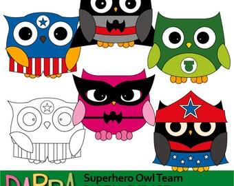 Superhero owls clipart - superhero clipart - owls clip art - digital images, commercial use, instant download