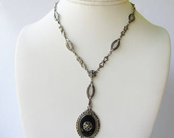Vintage Sterling Silver Link Y Necklace with bezel set Onyx and Marcasite Stones     1626D