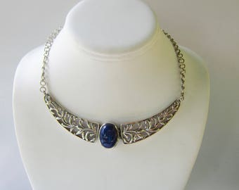 Sterling Silver Filigree and Lapis Stone Festoon Necklace   1826E