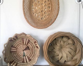 Vintage Handwoven Baskets set of 3. Great baskets for your walls. Display or Collection of Baskets. A trio baskets, each different.