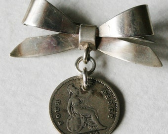 Sterling Silver Lucky Four Pence Victorian Coin Brooch 1854 Genuine Coin