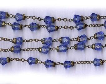 vintage rosary beads COBALT BLUE angular glass beads BRASS bead caps lovely strong rosary long rosary beads bold rosary beads