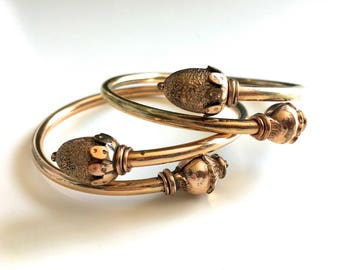 Rare Matching Pair of Antique Victorian Acorn Bypass Rose Gold Filled Bangle Bracelets - Circa 1890s