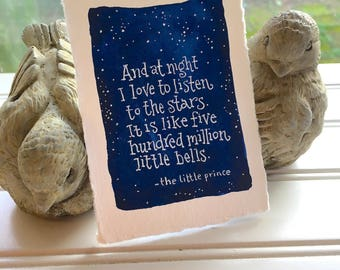 Night Sky Star Gazing Original Watercolor and Quote OOAK Free Shipping