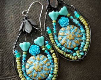 Flowers, Wire Wrapped, Hoops, Blossom Series, Turquoise, Artisan Made, Summer, Spring, Glass, Organic, Rustic, Unique, Beaded Earrings