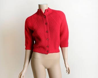 Vintage 1960s Knit Sweater - Bright Cherry Red Thick Knit Crop Button Up Cardigan Sweater - Small