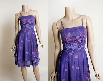 Vintage 1970s Dress - Sheer Floral Print Sundress - Lavender Purple with Pink and Blue Layered Overlay - Flowers - Small XS