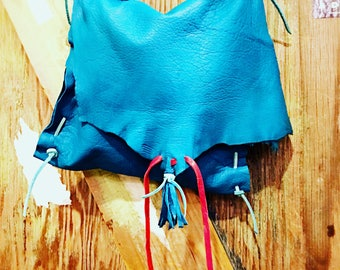 Artisan Made Purse in Colored deerskin Softest Leather Handbag Hobo Style Turquoise blue Leather red