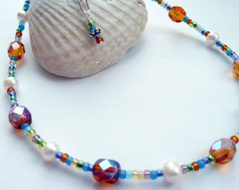 Handcrafted Artisan Eclectic Topaz Czech Glass Fresh Water Pearl Colorful Seed Glass Sterling Silver OOAK Boho Hippie Summer Festival Anklet