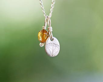 fine silver and tourmaline pendants on sterling silver chain set, hand crafted necklace, golden