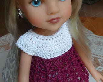 Crochet Baby Doll Top for H4H AG Wellie Wisher 14 15 inch doll White Purple
