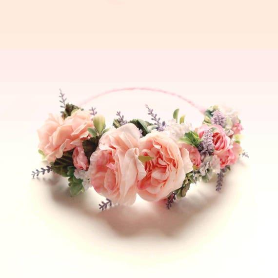 Pink rose crown, Rose and Lavender wreath, Woodland floral head wreath, Bridal hair crown, Pink flower wreath, Peach pink flower crown