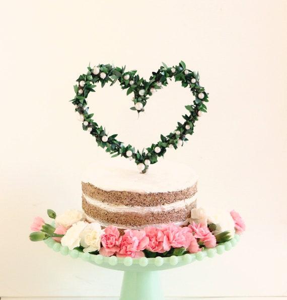 leaf heart cake topper green leaves and pearl woodland cake