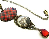 Scottish Tartan Jewelry Tartan Necklace Royal Stewaert 40x30mm Teardrop Filigree Necklace w/Stirling Castle Charm & Siam Red Czech Glass