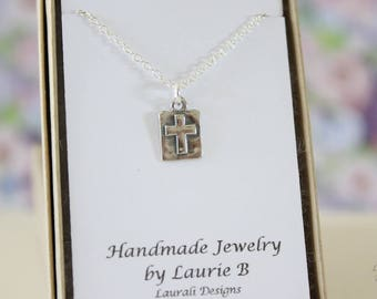Cross Charm Necklace, Friendship Gift, Sterling Silver, Bestie Gift, Silver Cross, Thank you card, Religious Charm, Layered