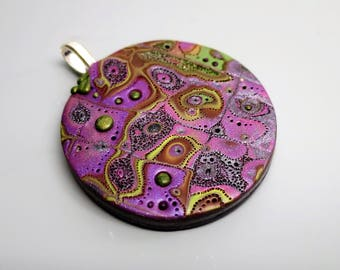 Mokume Gane Polymer Clay Pendant, Plum and Basil with Lots of Texture, Handmade Jewelry Component