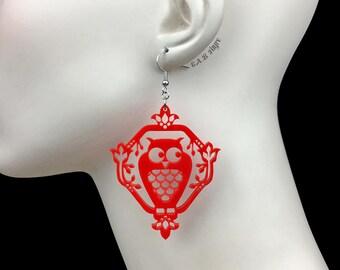 READY MADE SALE - Whimsical Owl Earrings - Red Owl - Laser Cut Acrylic Owl Earrings