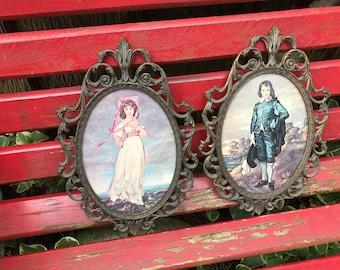 Vintage Pinkie and Blue Boy Framed Pictures Italian Ornate Oval Frames