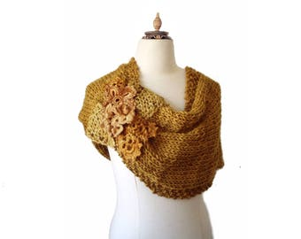 Hand knitted Poncho - Bridal Cover Shoulder - Gold  Capelet - Warm Scarf - Knit Cowl - Wedding Cover Up - Bridal Wrap - Bridesmaid cover up
