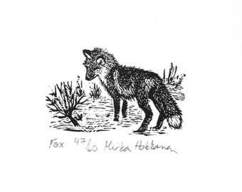 Miniature Fox print - Wood engraving - Fox engraving - Woodlands animal print