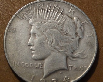 1934 Peace Silver Dollar, Coin, Numerology, Jewelry Jeweler Numismatic Coinage Retro Americana Coinage 1920's Money Liberty Lot #30, (D)