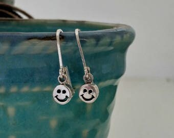 Happy Face Emoji Earrings, 925 Sterling Silver, Dangle earring, BFF jewelry inspirational fun