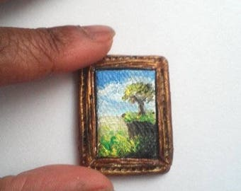 "1:24 Scale Oil Painting Tree on a Cliff Landscape 1"" x 3/4"" Framed with optional Easel READY to SHIP"