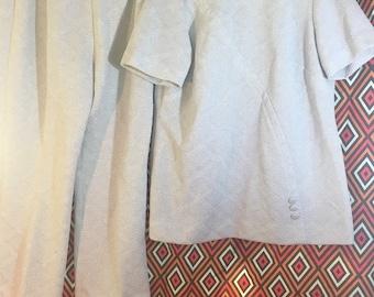 VINTAGE 70s silver disco 2 piece jumpsuit tunic and pants PLUS SIZE xl 18/20