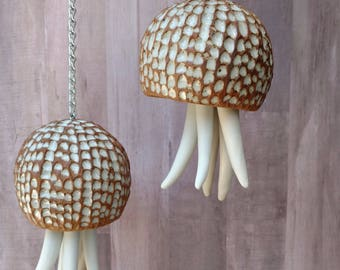 Ceramic Wind Chime. Large, white, porcelain Jellyfish hanging sculpture. Beach house garden art gift. Limited edition ceramic sculpture OOAK
