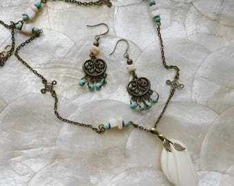 Antqiue Brass Chain Necklace & Earring Gift Set, Bone Ivory Leaf Pendant,Turquoise Bead and Shell Bead Necklace, Matching Earrings
