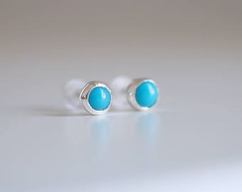Mini Turquoise earrings. Sterling silver tiny Turquoise studs. Tiny Turquoise studs, Blue Turquoise studs, silver mini studs, blue studs.