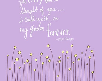 If I Had a Flower Quote - Print 11x14 - lavender/violet background
