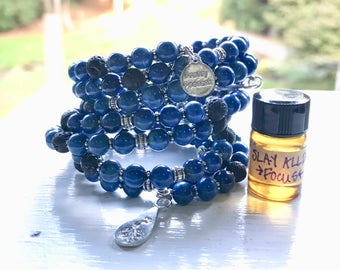 Lapis Lazuli Essential Oil Diffuser Gemstone Bracelet Fully Adjustable  with Sample Slay All Day Essential Oil Aromatherapy Blend