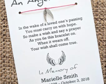 An Angel's Wish - Funeral Memorial Card - Wish Bracelet Party Favor Custom Made for You