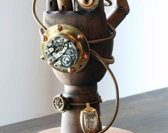 Steampunk Mechanical hand Scupture - Time travelling artifact retreiver device apparatus