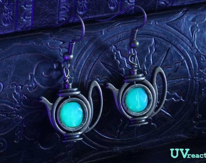 Teapot Earrings with mint green Uranium glass